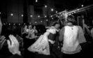 Wedding couple hugging on dance floor